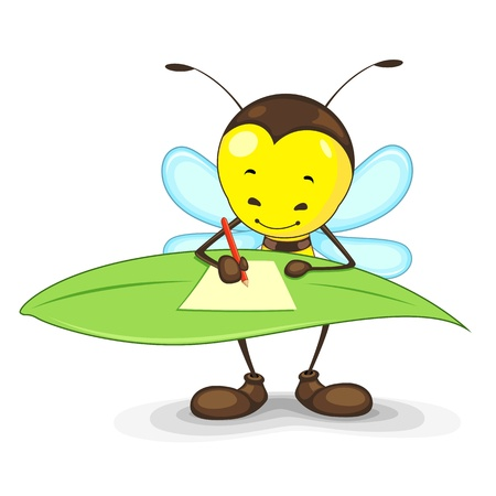cute bee: Editable vector bee writing on a leaf