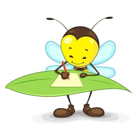 Editierbare Vektor-Biene schriftlich auf einem Blatt Standard-Bild - 14504556