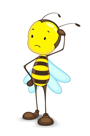 thinking student: Edtiable vector of thinking confused bee against white Illustration