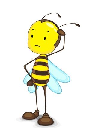 abeja: Vector de Edtiable de abeja pensamiento confuso en contra de blancos