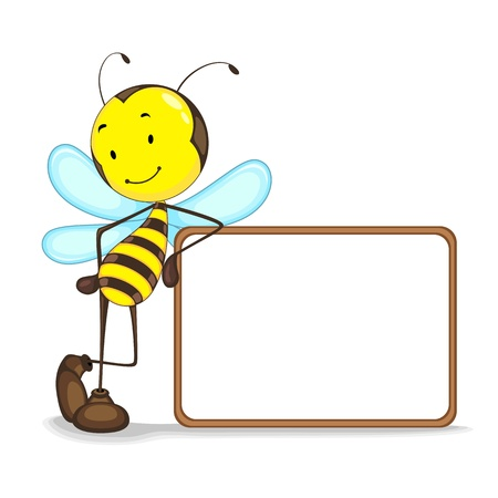 vector illustration of bee giving presentation with balnk board