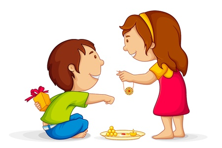 Illustration of brother and sister celebrating Raksha Bandhan Vector