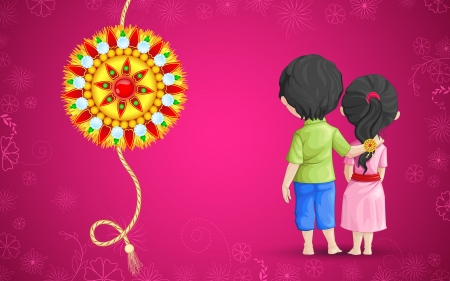 Vector illustration of brother sister in raksha bandhan Vector