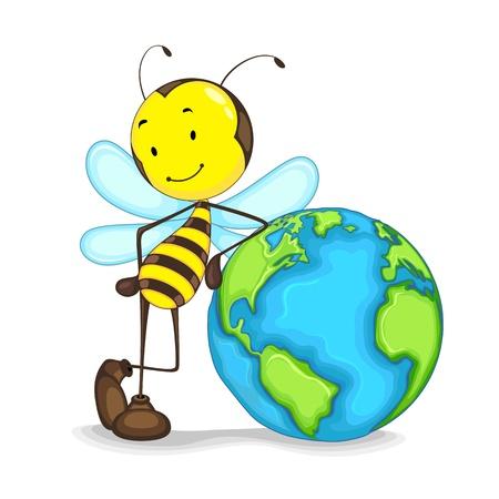 abeja caricatura: Editable vector de la abeja de pie con el globo