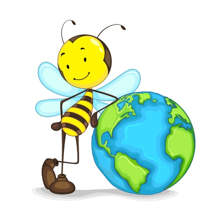 student travel: Editable vector of bee standing with globe
