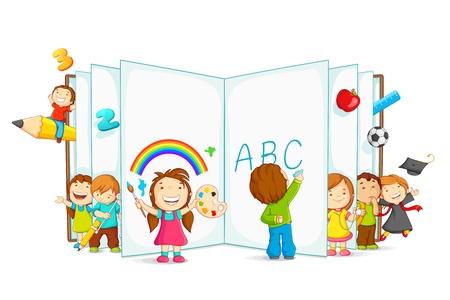 vector illustratie van kind lezen open boek zittend op de vloer