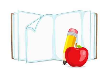 vector illustration of blank open book with apple and pencil Vector