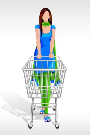 ilustración vectorial de la mujer en traje salwar con carrito de compras Ilustración de vector