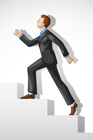 subiendo escaleras: Vectoriales editables de una escalera de éxito ejecutivo de escalada