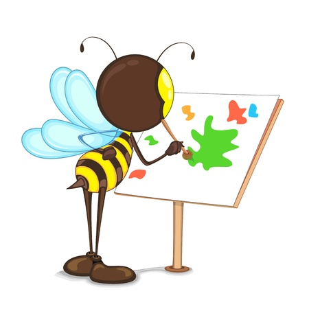 an insect sting: Editable vector bee painting with color on easel