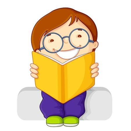 vector illustration of kid reading open book