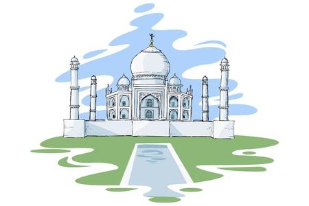 mughal architecture: vector illustration of Taj Mahal of India Illustration