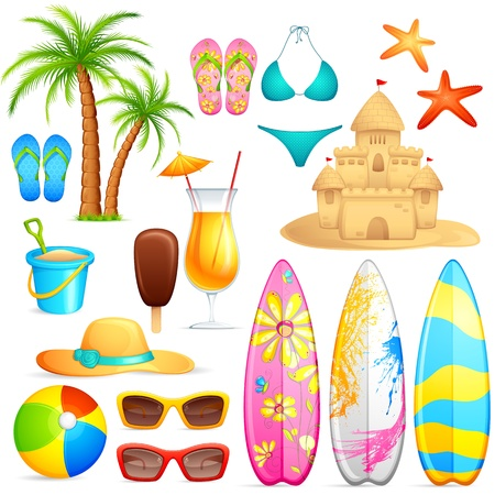 vector illustration of sea beach object against white background Vector