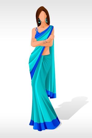 indianin: ilustracji wektorowych z Indian Lady stwarzajÄ…cych w sari