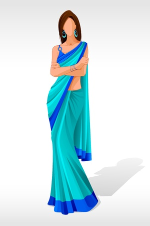 indian saree: vector illustration of indian lady posing in sari