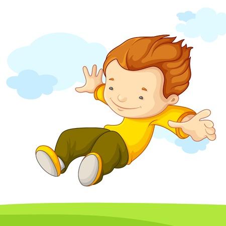 enfant qui joue: illustration vectorielle de saut enfant dans la cour