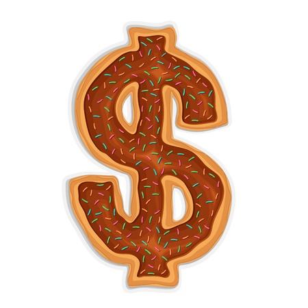 vector illustration of dollar shape doughnut with chocolate Stock Vector - 14504607