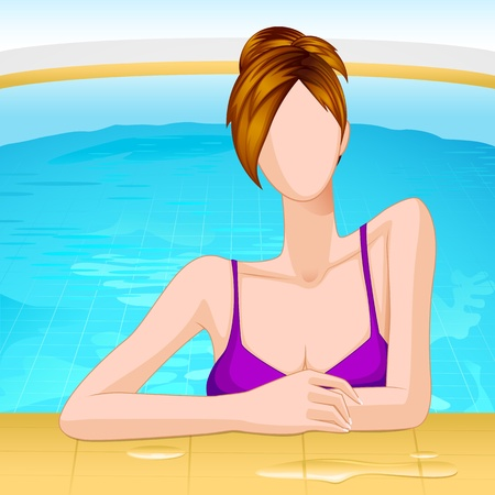vector illustration of lady in swimming pool Stock Vector - 14504598