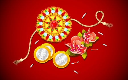raksha: illustrazione vettoriale di Rakhi con il fiore per Raksha Bandhan