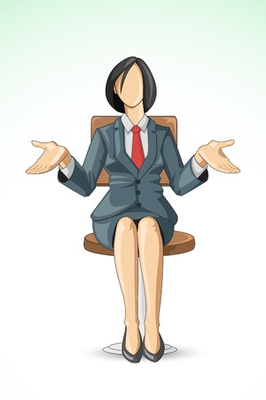 female boss: vector illustration of business woman sitting in chair Illustration