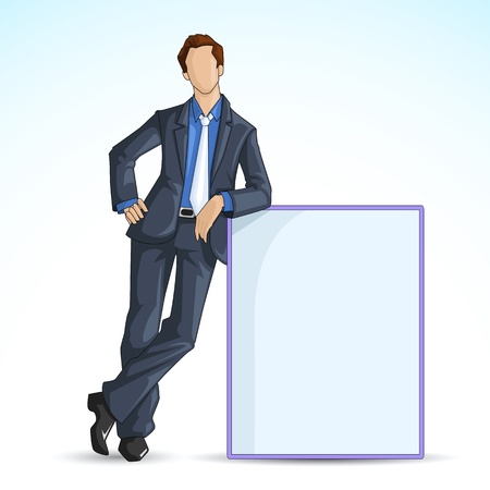 man and banner: vector illustration of man leaning on blank board