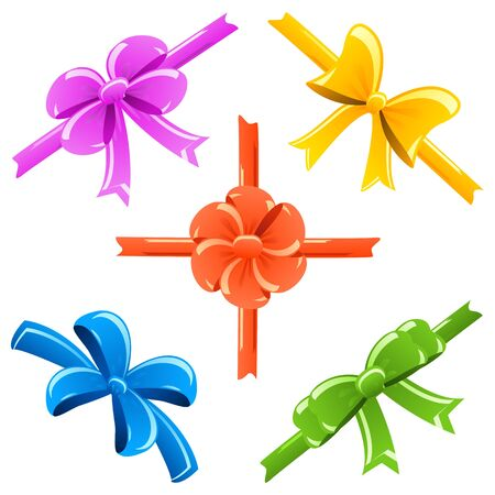 vector illustration of set of colorful ribbon bow Stock Vector - 14504564