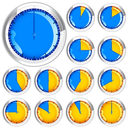 ticking: vector illustration of clock showing different time