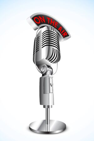 vocal: illustration of microphone with on air tag on black background