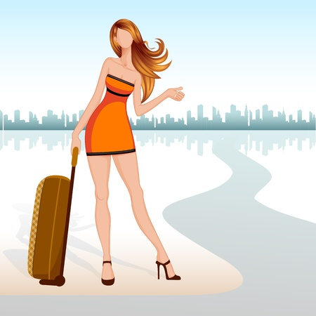 Lady with Travel Bag Vector