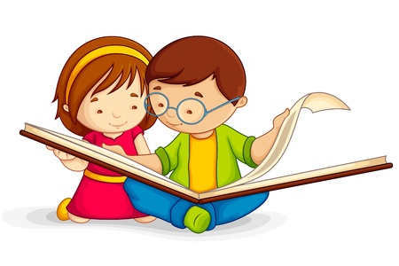 assignments: Kid reading Open Book Illustration