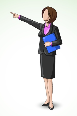 Business Lady pointing upward Vector