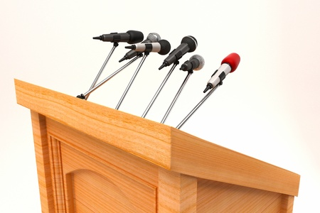 orator: Microphone on Podium Stock Photo