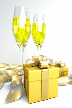Champagne and Gift Box photo