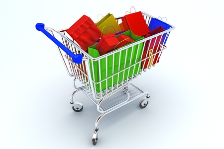 Courful bags in shopping cart Stock Photo - 14504800