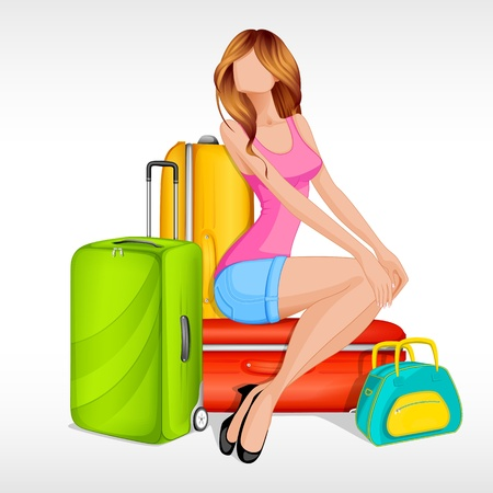 Girl sitting with baggage Vector