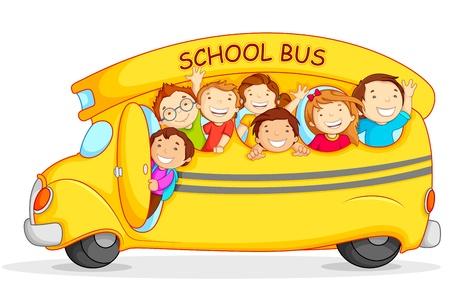 transporte escolar: Los niños en autobuses escolares Vectores