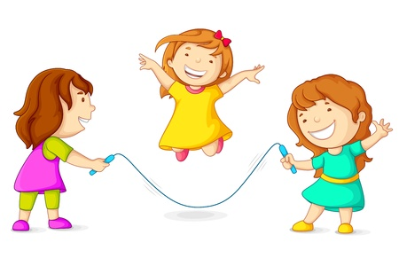 Girls Skipping Vector