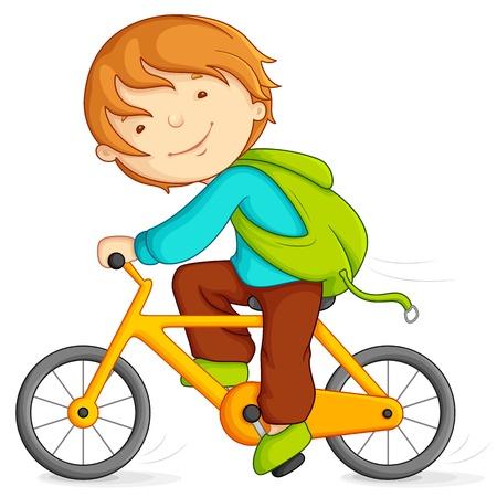 riding bike: Ragazzo in bicicletta Vettoriali