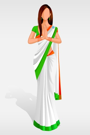 sari: Indian Lady in Indian Flag Sari Illustration