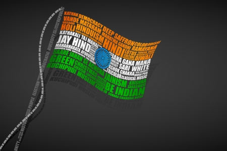 republic day: Typography Indian Flag Illustration