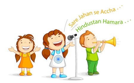 Kid singing Indian Song Vector