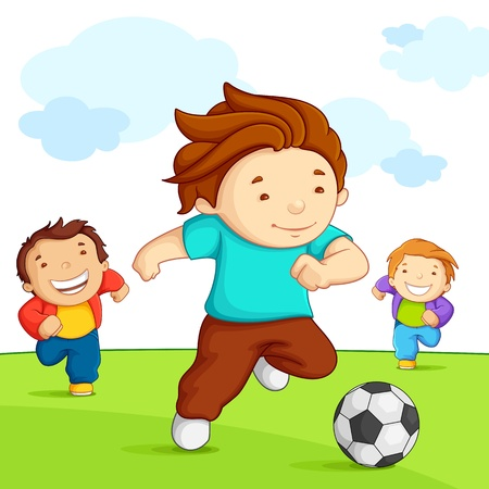 kids playing outside: Kids playing Soccer Illustration