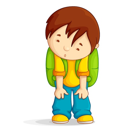 and worry: Depressed boy with School Bag Stock Photo