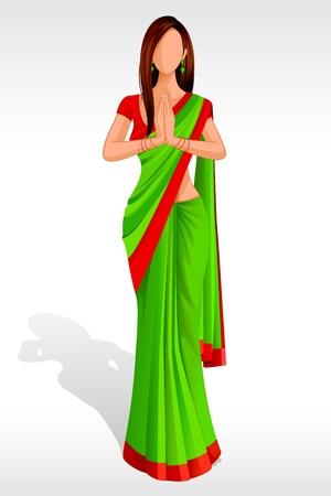 sari: Indian Lady Greeting Stock Photo