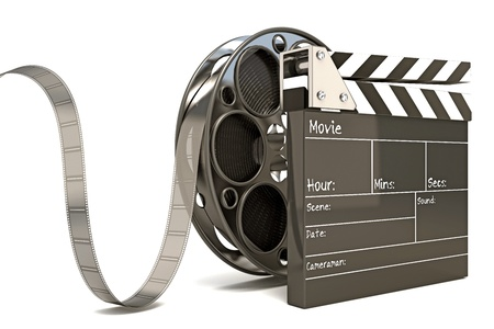 movie clapper: Clap Board with Film Reel
