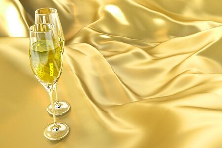 Champagne Glass on Satin photo