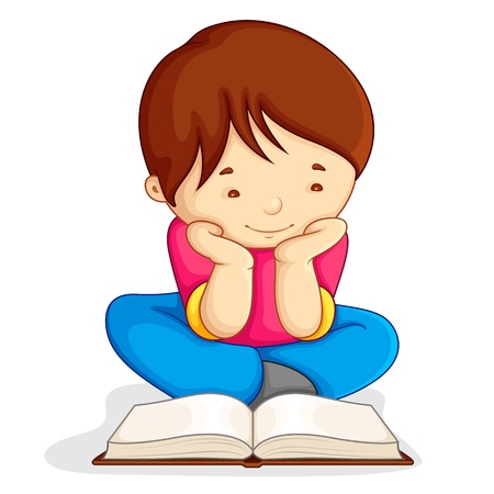 boy book: Boy reading Open Book Illustration