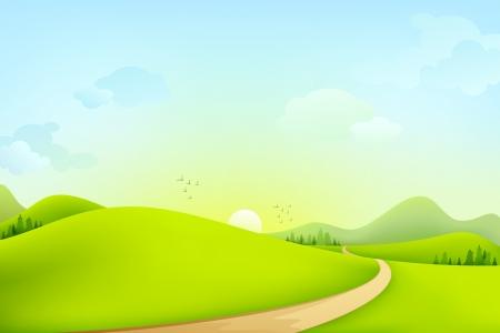 táj: Zöld táj Illusztráció