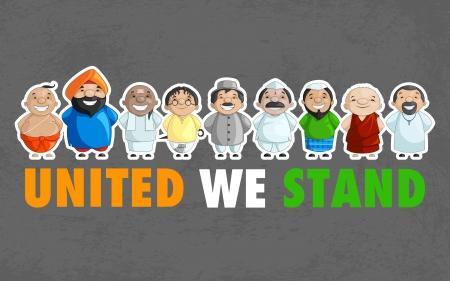 diversidad cultural: Unidad de la India Vectores
