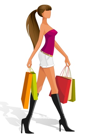 Lady with Shopping Bag Stock Vector - 14668853